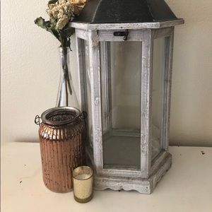 Other - Antiqued wooden, tin and glass lantern